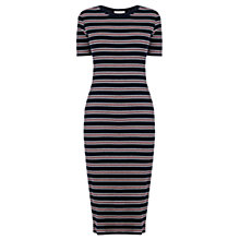 Buy Oasis Fluro Striped Ribbed Tube Dress, Navy Online at johnlewis.com