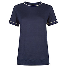 Buy Jaeger Linen Contrast Trim T-Shirt, Midnight Online at johnlewis.com