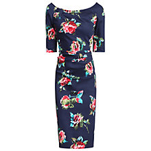 Buy Jolie Moi Floral Half Sleeve Ruched Wiggle Dress, Navy Online at johnlewis.com