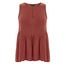 Buy Warehouse Embroidered Bib Front Top, Dark Pink Online at johnlewis.com