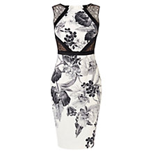 Buy Karen Millen Floral-Print Pencil Dress, Black/White Online at johnlewis.com