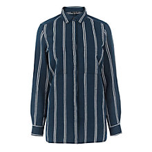 Buy Warehouse Stripe Linen Mix Shirt, Blue Online at johnlewis.com