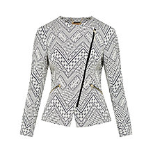 Buy Ted Baker Ayomi Jacquard Asymmetric Zip Jacket, Black Online at johnlewis.com