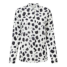 Buy Selected Femme Norva Printed Silk Shirt, White/Black Online at johnlewis.com