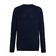 Buy Denham JV Bubble Knit Crew Neck Jumper, Dark Navy Marl Online at johnlewis.com