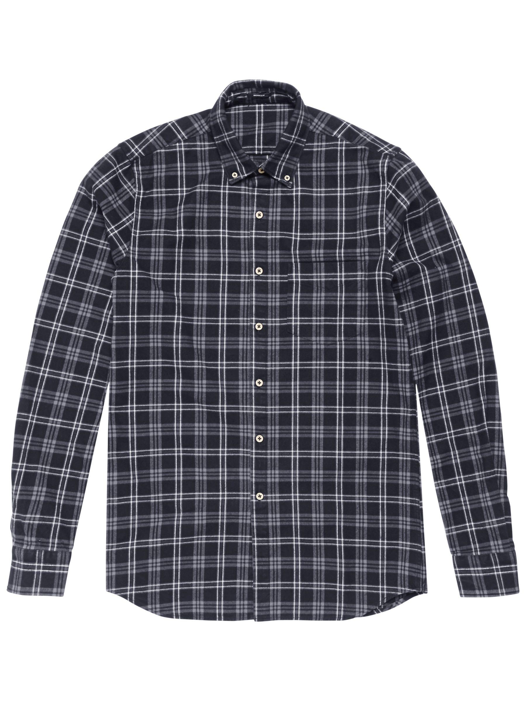 Denham Denham Pocket Brushed Flannel Shirt, Grey Marl