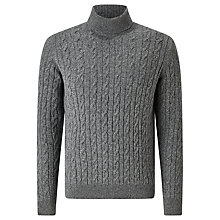 Buy Barbour Greatcoat Upstart Roll Neck Cable Knit Jumper, Grey Online at johnlewis.com