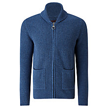 Buy Barbour Greatcoat Rosario Full Zip Shawl Neck Jumper, Denim Online at johnlewis.com
