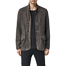 Buy AllSaints Seaton Leather Blazer, Slate Grey Online at johnlewis.com