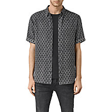 Buy AllSaints Auray Print Short Sleeve Linen Shirt, Washed Black Online at johnlewis.com