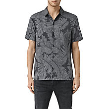 Buy AllSaints Yoza Hawaiian Print Short Sleeve Shirt, Black Online at johnlewis.com