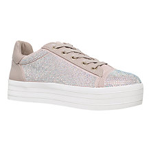 Buy Carvela Leonie Flatform Embellished Trainers, Nude Online at johnlewis.com