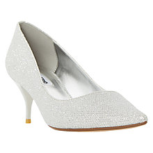 Buy Dune Allera Mid Heeled Stiletto Court Shoes, Silver Online at johnlewis.com