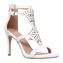 Buy KG by Kurt Geiger Harem Vamp Strap Heel Sandals, White Leather Online at johnlewis.com