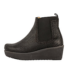 Buy Unisa Fara Wedge Heeled Ankle Boots, Black Snake Online at johnlewis.com