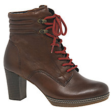 Buy Gabor Mantra Heeled Lace-Up Ankle Boots, Tan Leather Online at johnlewis.com
