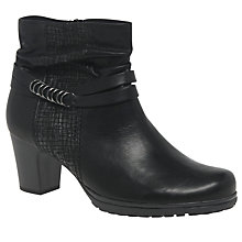 Buy Gabor Pollyanna Wide Block Heeled Ankle Boots, Black Online at johnlewis.com