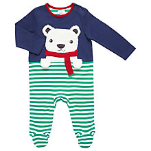 Buy John Lewis Baby Polar Bear Stripe Sleepsuit, Navy/Green Online at johnlewis.com