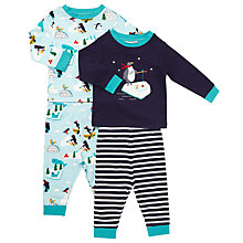 Buy John Lewis Baby Penguin Pyjamas, Pack of 2, Blue/White Online at johnlewis.com