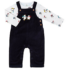 Buy John Lewis Baby Penguin Dungaree Set, Navy Online at johnlewis.com
