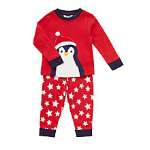 Buy John Lewis Baby Christmas Hat Penguin Appliqué Pyjamas, Red Online at johnlewis.com