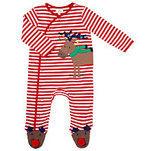 Buy John Lewis Baby Appliqué Reindeer Stripe Sleepsuit, Red Online at johnlewis.com