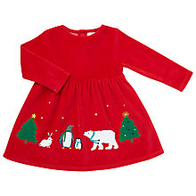 Buy John Lewis Baby Velour Christmas Dress, Red Online at johnlewis.com