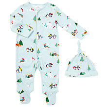 Buy John Lewis Baby Penguin Scene Print Sleepsuit And Hat Set, Blue Online at johnlewis.com