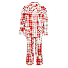 Buy John Lewis Girls' Woven Tartan Pyjamas, Red Online at johnlewis.com