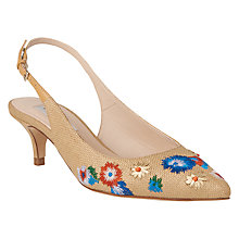 Buy L.K. Bennett Miri Raffia Embroidered Sling Back Court Shoes, Floral Online at johnlewis.com