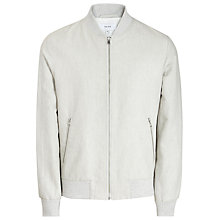 Buy Reiss Resident Linen Cotton Bomber Jacket, Ecru Online at johnlewis.com