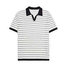 Buy Reiss Martini Textured Stripe Polo Shirt, White/Navy Online at johnlewis.com