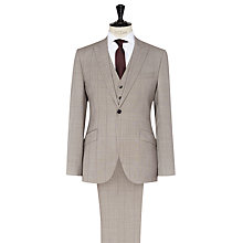 Buy Reiss Fiji Check Three Piece Modern Fit Suit, Champagne Online at johnlewis.com