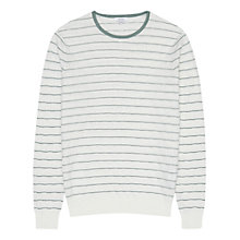 Buy Reiss Lanza Textured Cotton Jumper, White/Green Online at johnlewis.com