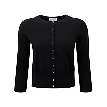 Buy Pure Collection Priscilla Cropped Cardigan, Black Online at johnlewis.com