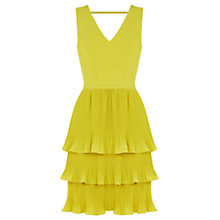 Buy Oasis V-Neck Pleated Dress, Bright Yellow Online at johnlewis.com