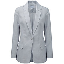 Buy Pure Collection Lucy Longline Linen Jacket, Grey Dawn/White Stripe Online at johnlewis.com