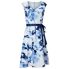 Buy Jacques Vert Floral Cotton Sateen Prom Dress, Blue Online at johnlewis.com