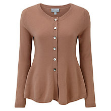 Buy Pure Collection Luna Cashmere Peplum Cardigan, Muscovado Online at johnlewis.com