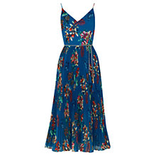 Buy Oasis Tropical Print Pleat Midi, Multi Blue Online at johnlewis.com