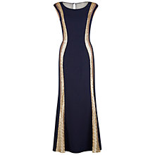 Buy Gina Bacconi Maxi Dress With Sheer And Sequin Bands, Navy/Gold Online at johnlewis.com