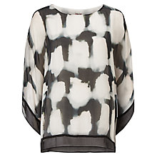 Buy Phase Eight Mildred Silk Blouse, Black/Ivory Online at johnlewis.com
