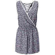 Buy Miss Selfridge Petite Ditsy Print Playsuit, Mid Blue Online at johnlewis.com