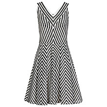 Buy Reiss Beverly Striped Fit And Flare Dress, Black/White Online at johnlewis.com