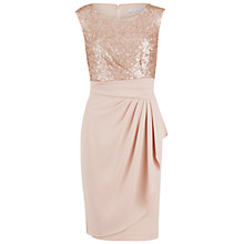Buy Gina Bacconi Moss Crepe Dress With Sequin Bodice, Apricot Crush Online at johnlewis.com