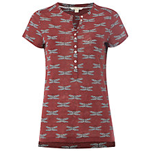 Buy White Stuff Dragonfly Linen T-Shirt, Plum Pink Online at johnlewis.com