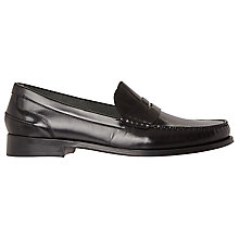 Buy Bertie Randsom Leather Penny Saddle Loafers, Black Online at johnlewis.com