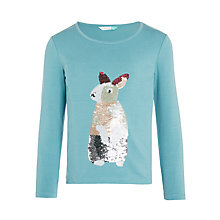 Buy John Lewis Girls' Sequin Rabbit Top, Mineral Blue Online at johnlewis.com