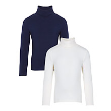 Buy John Lewis Girls' Turtle Neck, Pack of 2, Peacoat/Gardenia Online at johnlewis.com