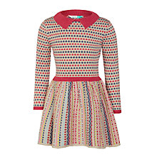 Buy John Lewis Girls' Birds Eye Knitted Dress, Stone Online at johnlewis.com